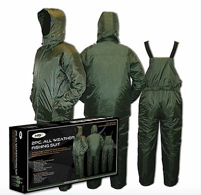 2pc All Weather Carp Fishing Hunting Suits Bib and Brace with Jacket Waterproof