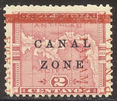 CANAL ZONE #11 var Mint - 1905 2c Rose, Map