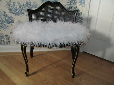 Vintage Vanity Bench Stool Chair Black Gold Hollywood Regency Transitional Style