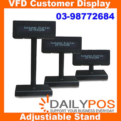 New DailyPOS VFD Customer Display Pole Display Unit Dual Line Adjustable Stand