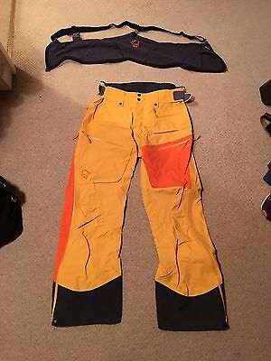 Norrona Lofoten Mens Pro Bib Ski Pants Large L Rare Yellow & Orange Rrp £450