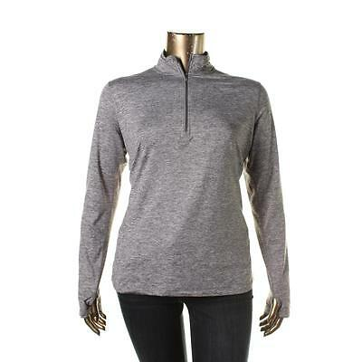 Nike 6737 Womens Gray Reflective Stretch Solid 1/4 Zip Pullover XL BHFO