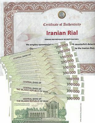 1 Million Uncirculated w/Certificate Iranian Rials 10 X 100,000 FREE Bonus Dong