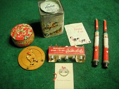 Vintage Christmas Lot Arden Tins Santa Candles Reindeer Bulbs Lights Church Card