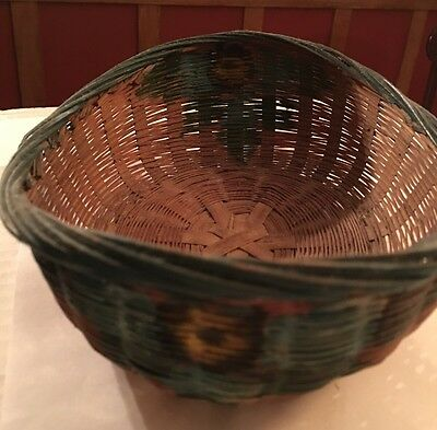 Chinese Open Basket Hand Painted By Sally Patchin