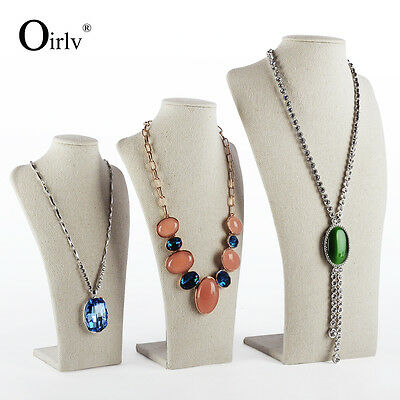 Oirlv Commerical Pendant Necklace Display Bust Stands Linen Jewelry Holder Stand