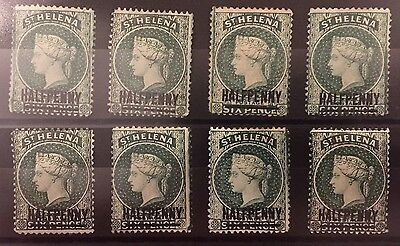 St Helena 1884-1894 SG36 0.5d on 6d words 14.5mm green wmk crown P14 MH