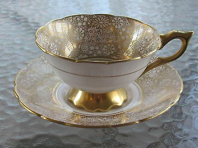 Antique GOLD ~ Royal Stafford Bone China Teacup & Saucer Made in England
