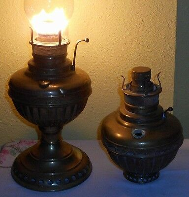 Lot of 2 Ca.1890s  Bristol Brass & Clock Haida Center Draft Oil Lamps One Works!