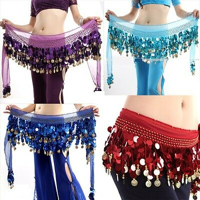 3 Rows Belly Dance Costume Hip Scarf Tribal Hip Belt Skirt Silver Gold Coins