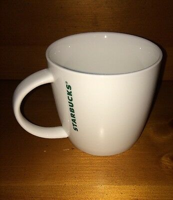 2015 Starbucks White with Green Vertical lettering Coffee Mug Cup 14 fl oz