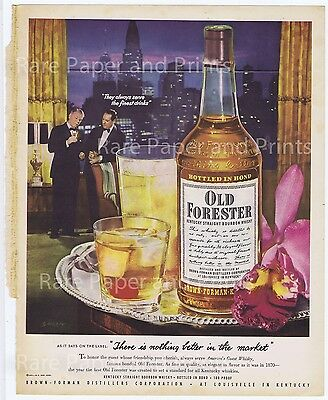Old Forester Kentucky Bourbon Whisky Nothing Better 1952 Original Photo Print Ad