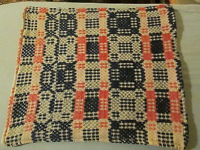 """1800's Antique Woven Indio & Salmon Coverlet  Piece 15 by 26"""" Tote Bag 15 X 13"""