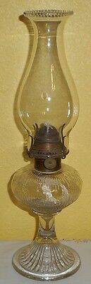 Tiny Little Ca.1870s Icicle Rib Stand Oil Lamp Complete Zero Size Burner Chimney