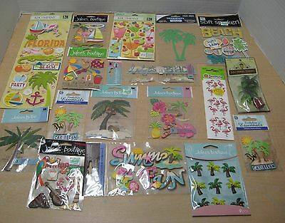 Large Scrapbook Embellishments & Stickers Lot Beach, Tropical, Sand, Palm Trees