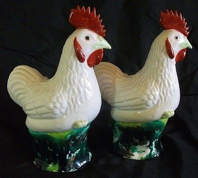 ANTIQUE Pair Chinese Porcelain Chicken Cockerels.