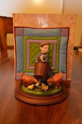 """Willitts Amish Heritage Collection """"Feeding the Chickens"""" Nettie Figurine w Box"""