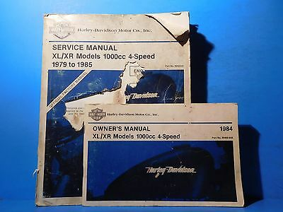 Harley Davidson Service & Owners Manual XL XR Models 1000cc 4 Speed 1979 to 1985