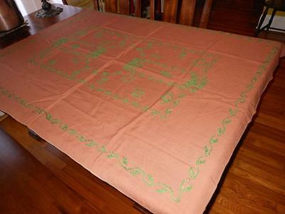 Vintage GINGERBREAD Brown Linen? TABLECLOTH w HOLIDAY GREEN CROSS STITCH 58x45