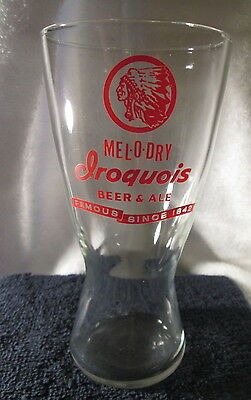 """IROQUOIS Indian Head Beer Glasses Mel-O-Dry 6.5"""" Tall VINTAGE"""