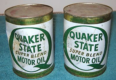 (2) Two Quaker State Super Blend Oil Cans Full