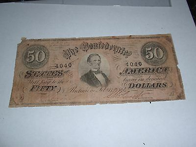 Confederate 50 dollar bill Feb 17 1864 4040 fair to good condition