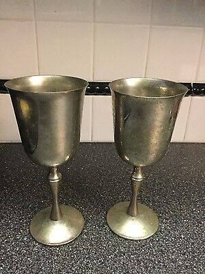 vintage pair of silverplated wine goblets made in spain