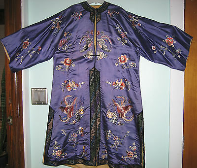 Antique Vintage Asian Chinese Kimono Robe Purple Silk Embroidered Floral & Birds