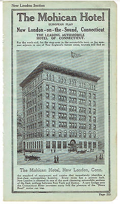 Vintage, Original, 1916 - The Mohican Hotel Advertisement - New London, CT