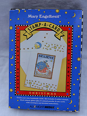 """Mary Engelbreit Stamp-A-Card Christmas Rubber Stamp Set Santa """"Believe"""""""