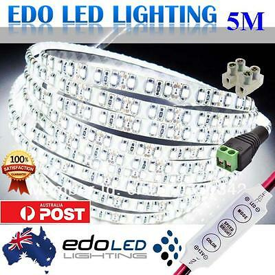 Waterproof Cool White 600 LEDs DC 12V 3528 SMD 5M LED Strip Lights + Dimmer