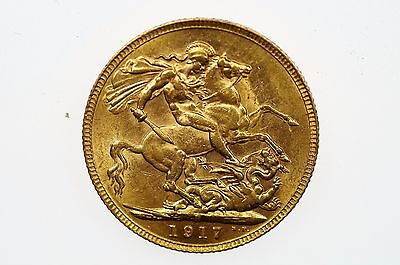 1917 Perth Mint Gold Full Sovereign in Almost Uncirculated Condition