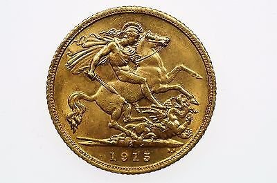1915 Sydney Mint Gold Half Sovereign in Almost Uncirculated Condition