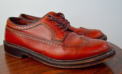 Vintage 1950s Sears Wing Tip Shoes w/V Cleat Size 8EE