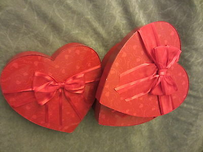 """Valentine Heart Candy Box LOT 4 SEES CANDY EUC 9"""" ONE POUND BOXES"""