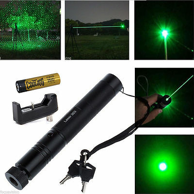 532nm Green Laser Pointer Light Pen Lazer Beam High Power + Battery +Charger