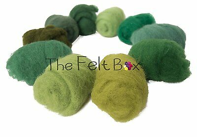 Carded Wool For Felting, Needle Felting Wool Shade Pack, 100 grams 5.3 Oz Green
