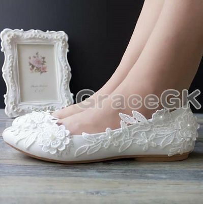 Lace flowers white ivory Wedding shoes Bridal flats low high heel pump size 3-10