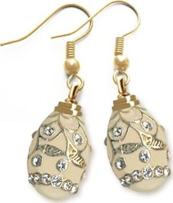 Faberge Egg Earrings with crystals 1.6 cm cream #0852