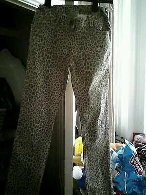 next girls leopard print trousers age 11 years