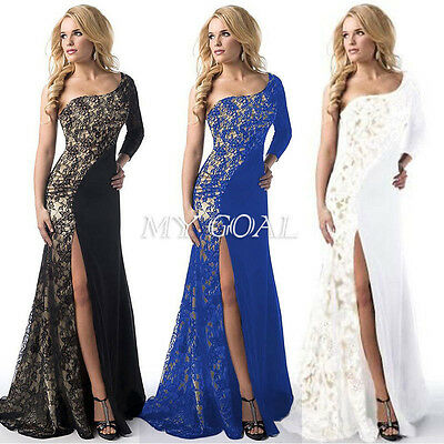 UK Womens Lace Long dress Evening Party Ladies Bridesmaid Dresses Size 8-12