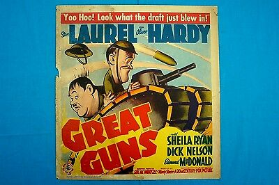 Rare Stan Laurel and Oliver Hardy GREAT GUNS 1941 poster U.S.A. cardboard