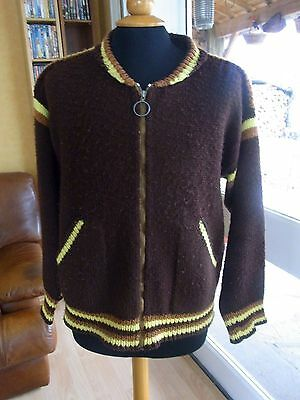 Pull Cardigan Homme Tricote Main Xl Vintage 60/70 Hand Knitted Man's Pullover