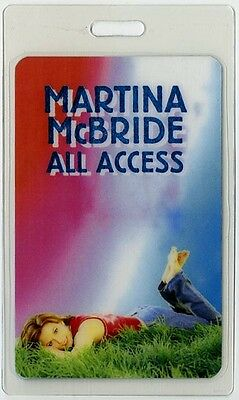 Martina McBride authentic 2001 concert tour Laminated Backstage Pass