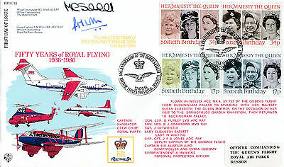 Rfdc 43 Official Cover-50 Years Of Royal Flying-Signed Wing Comm & Grp Capt-1986