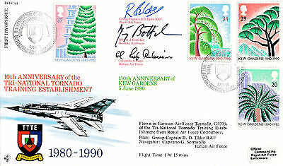 Rfdc 84 Official Cover-Kew Gardens-Triple Signed By Group Capt+ 2-1990