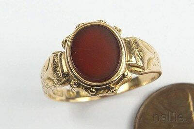 ANTIQUE LATE VICTORIAN ENGLISH 15K GOLD CARNELIAN SIGNET RING c1880s