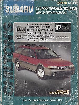 Subaru Impreza & Legacy 1.6 1.8 2.2 2.5 Saloon / Legacy 1989-1996 Repair Manual