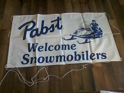 "Pabst ""Welcome Snowmobilers"" Large Vinyl Banner / Sign  NOS!!"