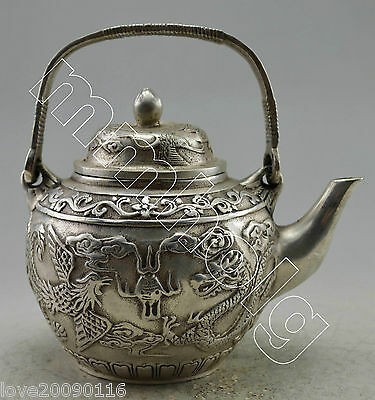 Collectible Old Handwork Silver Plate Copper Carved Dragon Play Ball Tea Pot